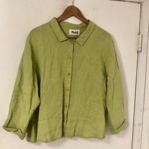 FLAX • Wheatgrass Linen Button Down Top